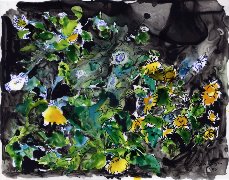Image: Jimmy Wright  Sunflower No. 9, 2018  signed and dated recto  ink on Yupo Paper  11 x 14 inches (27.9 x 35.6 cm)