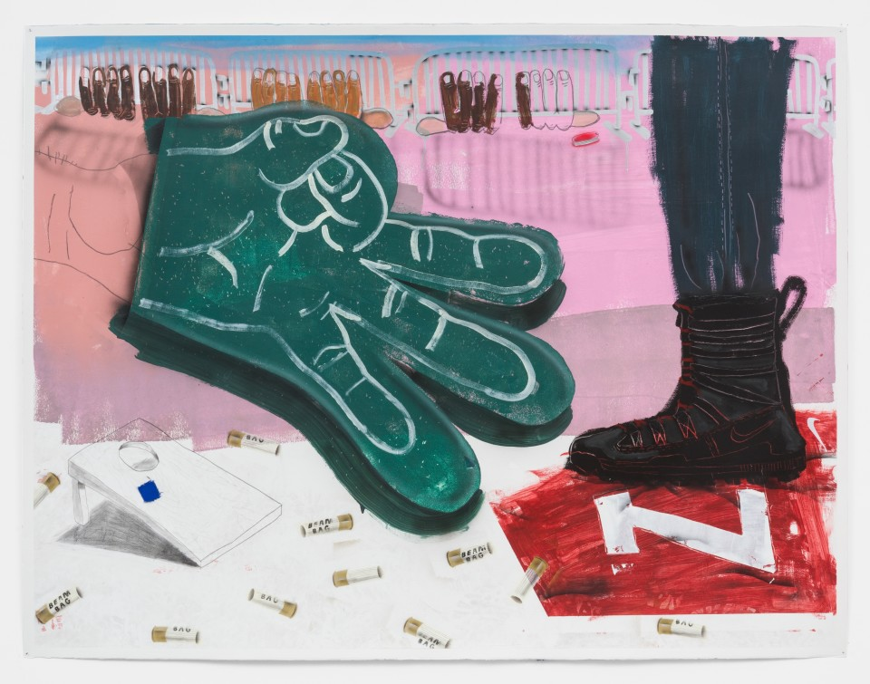 """Artwork: Pat Phillips  Untitled """"...everything is AOK here officer, thanks for asking"""" / """"philly protest"""" / tailgating, 2021  signed and dated verso  acrylic, pencil, canvas, airbrush, aerosol paint on paper  paper size: 55 x 71 7/8 inches (139.7 x 182.6 cm)  framed size: 58 1/8 x 75 1/4 inches (147.64 x 191.15 cm)"""