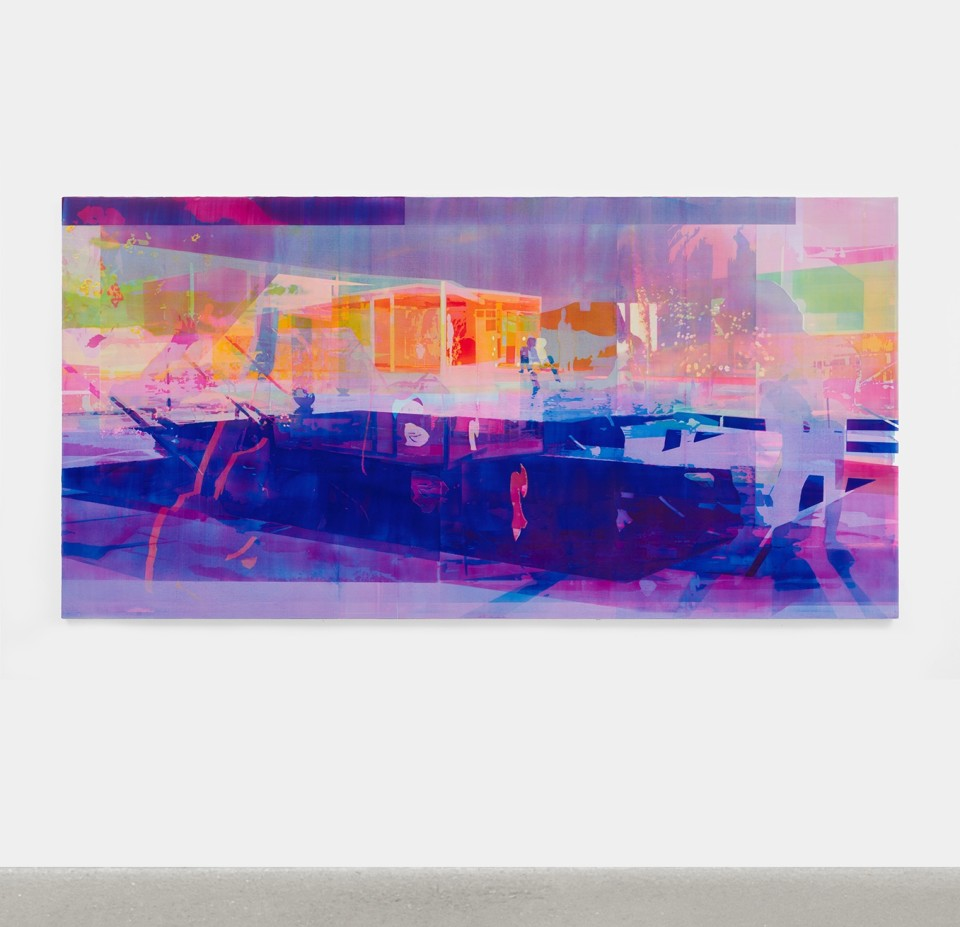 Artwork: Zoe Walsh  A dude till dawn, 2020  signed and dated verso  acrylic on canvas-wrapped panel  49 x 97 inches (124.5 x 246.4 cm)