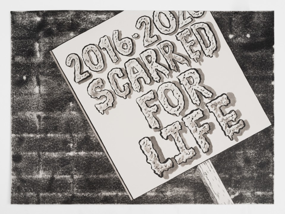 Artwork: Mark Thomas Gibson  2016 - 2020 Scarred for Life, 2020  ink on paper  22 x 30 inches (55.9 x 76.2 cm)