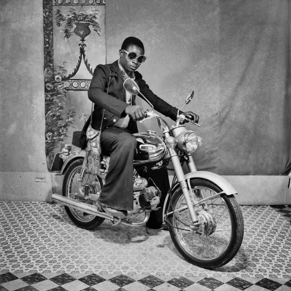 Image: Sanlé Sory  Yamaha de Nuit, 1972  signed, dated, titled and numbered verso  gelatin silver print  image size: 14-1/2 x 14-1/2 inches (36 x 36 cm) paper size: 20 x 16 inches (50 x 40 cm)  edition of 15 plus 5 artist's proofs