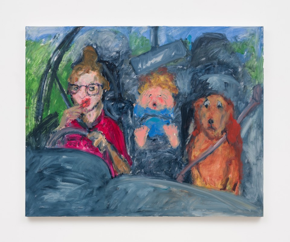 Image: Eva Beresin  Cabriolet, lipstick, baby, dog, 2021  signed, dated and titled verso  oil on canvas  47 x 59 inches (119.4 x 149.9 cm)