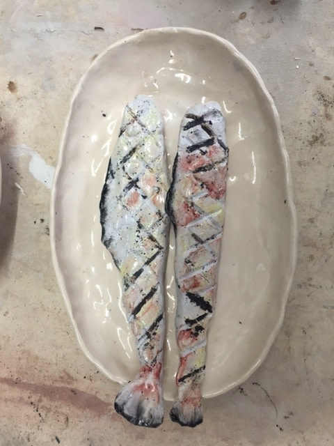 Image: Calvin Marcus  Fish in Dish, 2016  glazed ceramic  10 x 6 inches (need to confirm)