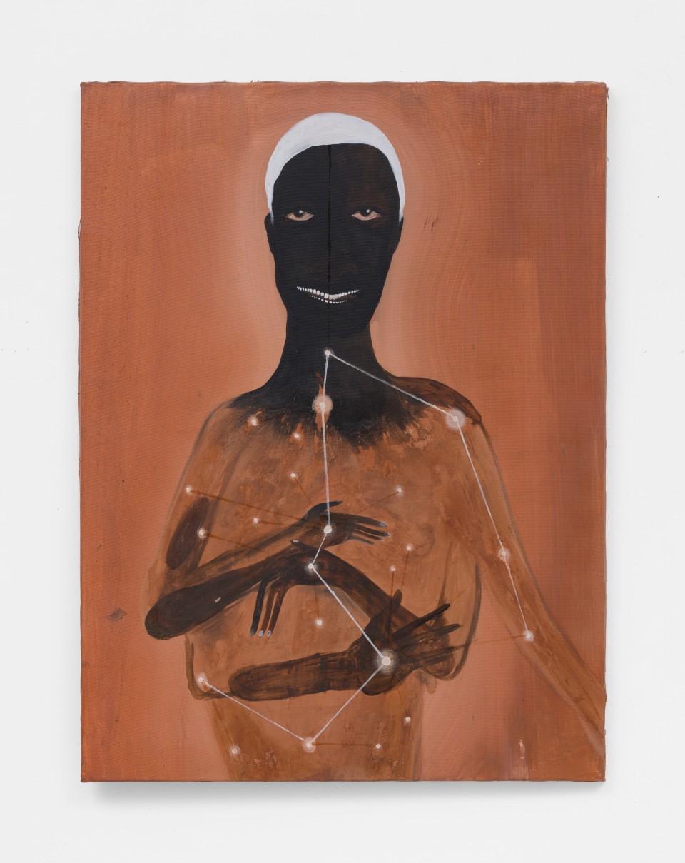 Image: Kelton Campos Fausto  Omolu, 2021  mixed media on canvas  31 x 24 inches (80 x 60 cm)