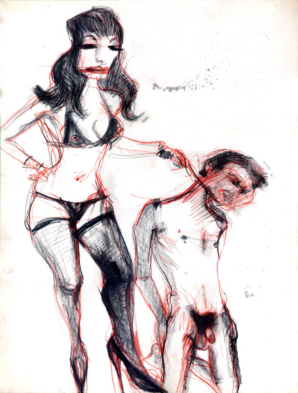 Image: Jimmy Wright  Rock Bondage: The Chelsea #1, 1976  graphite and color pencil on paper  29 x 23 inches (73.7 x 58.4 cm)