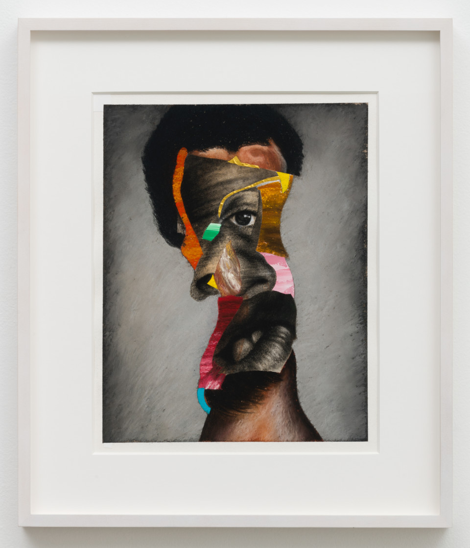 Image: Nathaniel Mary Quinn  Swingin', 2018  signed, titled and dated verso  black charcoal, gouache, soft pastel, acrylic gold leaf on Coventry Vellum paper  paper size: 16 x 13 inches (40.6 x 33 cm) framed size: 17 3/4 x 20 x 1 1/2 inches (45.09 x 50.8 x 3.81 cm)