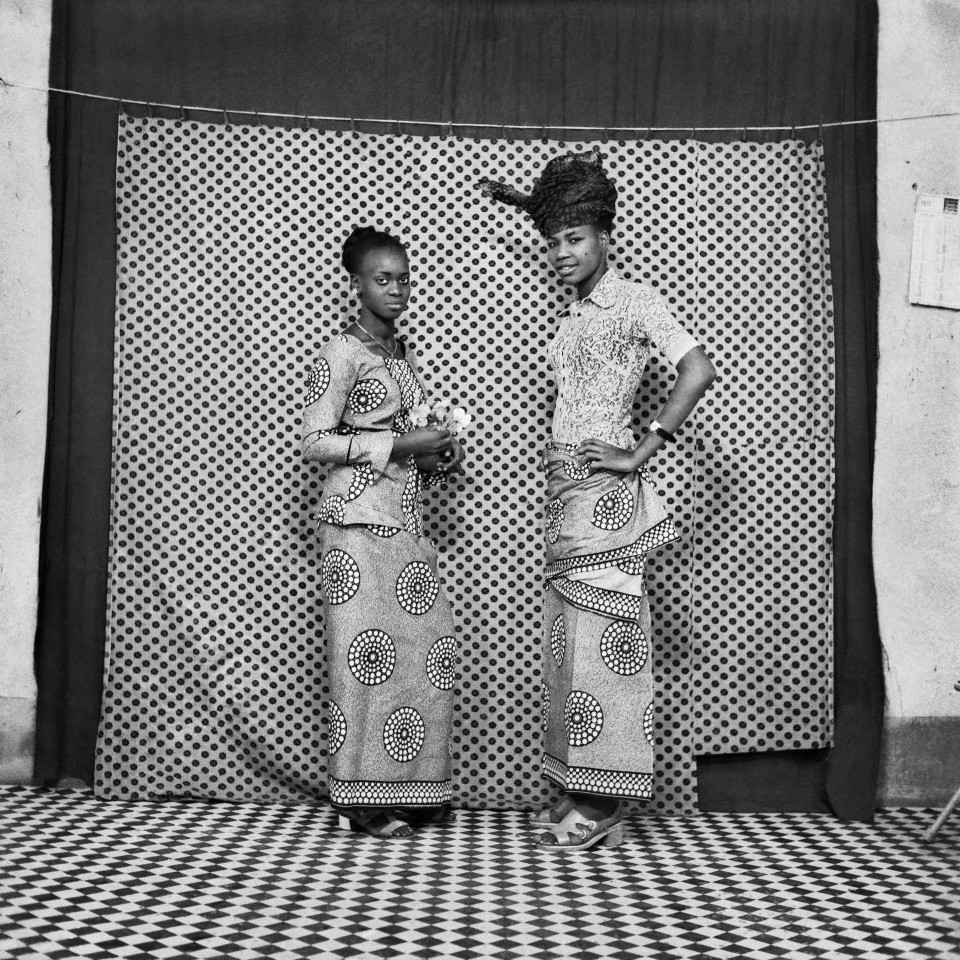Image: Sanlé Sory  Les Deux Amies au Pagne, 1972  signed, dated, titled and numbered verso  archival pigment print  42 x 42 inches, edition of 9 plus 3 artist's proofs  gelatin silver print  24 x 20 inches, edition of 10 plus 3 artist's proofs 20 x 16 inches, edition of 15 plus 5 artist's proofs
