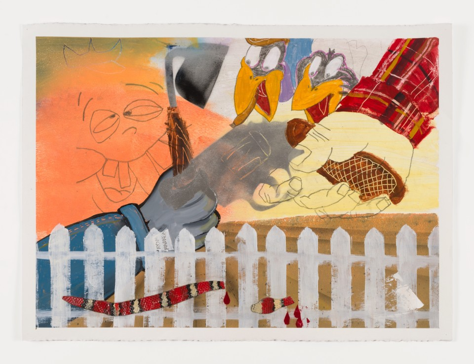 Image: Pat Phillips  Untitled (immigrants v.s first generation Mexican American / Mario Falcon), 2019  signed and dated verso  acrylic, pencil, vinyl fabric, aerosol paint on paper  22 x 30 inches (55.9 x 76.2 cm)
