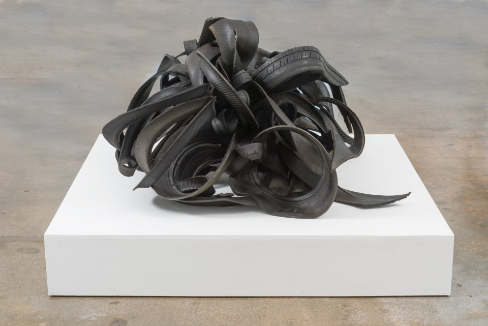 Image: Chakaia Booker  Bottom Half, 2008  rubber tires and wood  29 x 57 x 45 inches (73.7 x 144.8 x 114.3 cm)