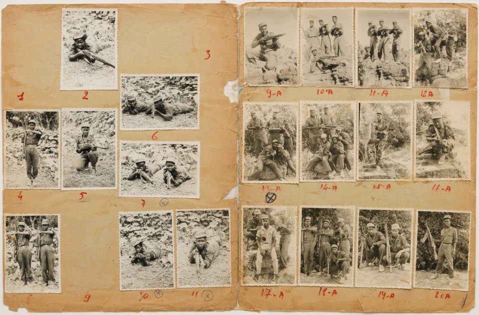Image: Malick Sidibé  Formation Militaire, 1966  numerical notations under each print; signed, initialed, titled and dated verso  collection of 20 vintage gelatin silver prints mounted on paper  12-3/4 x 19-1/2 inches