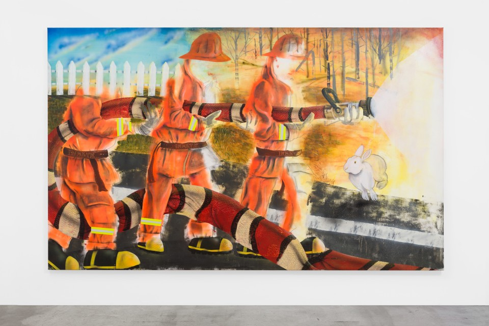 Image: Pat Phillips  Red Touching Black...Safe For Jack / Inmate Firefighters, 2019  signed, titled and dated verso  acrylic, airbrush, aerosol paint on canvas  76 x 124 inches (193 x 315 cm)