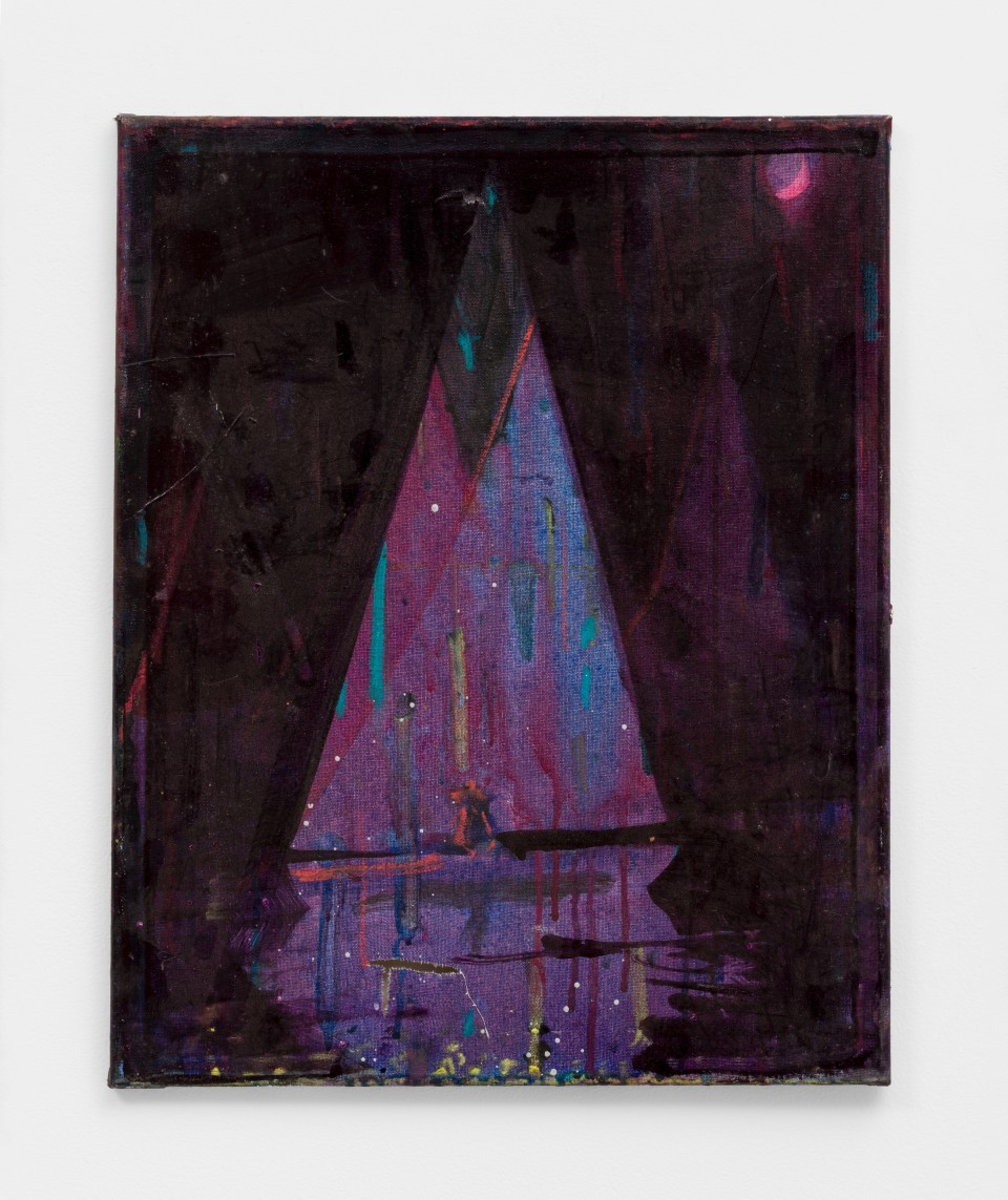 Image: Nathan Zeidman  Sailboat, 2015  signed and dated verso  acrylic and pastel on canvas  20 x 16 inches (50.8 x 40.6 cm)