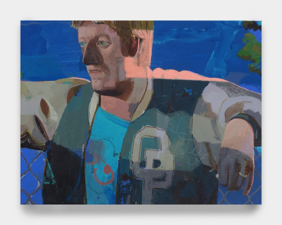 Image: Matt Bollinger  Letter Jacket III, 2020  Flashe and acrylic on canvas  18 x 24 inches (45.7 x 61 cm)
