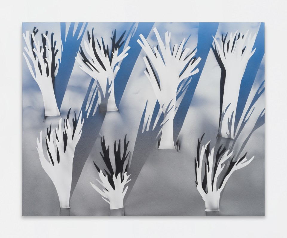 Image: Kara Joslyn  No tree no shade (tragic kingdom), 2019  acrylic and polymer automotive paint on panel  48 x 60 inches (121.9 x 152.4 cm)