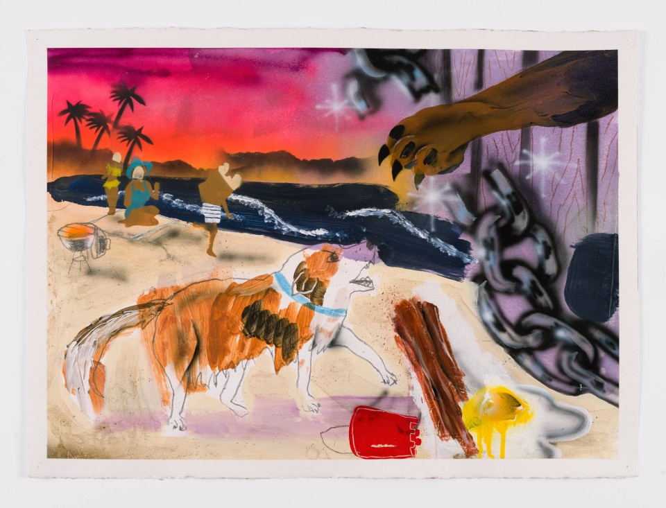 Image: Pat Phillips  Untitled (Lassie...what is it Lassie....What is it girl? Black people walking their dog by the pond?), 2019  signed and dated verso  acrylic, pencil, airbrush, aerosol paint on paper  22 x 30 inches (55.9 x 76.2 cm)