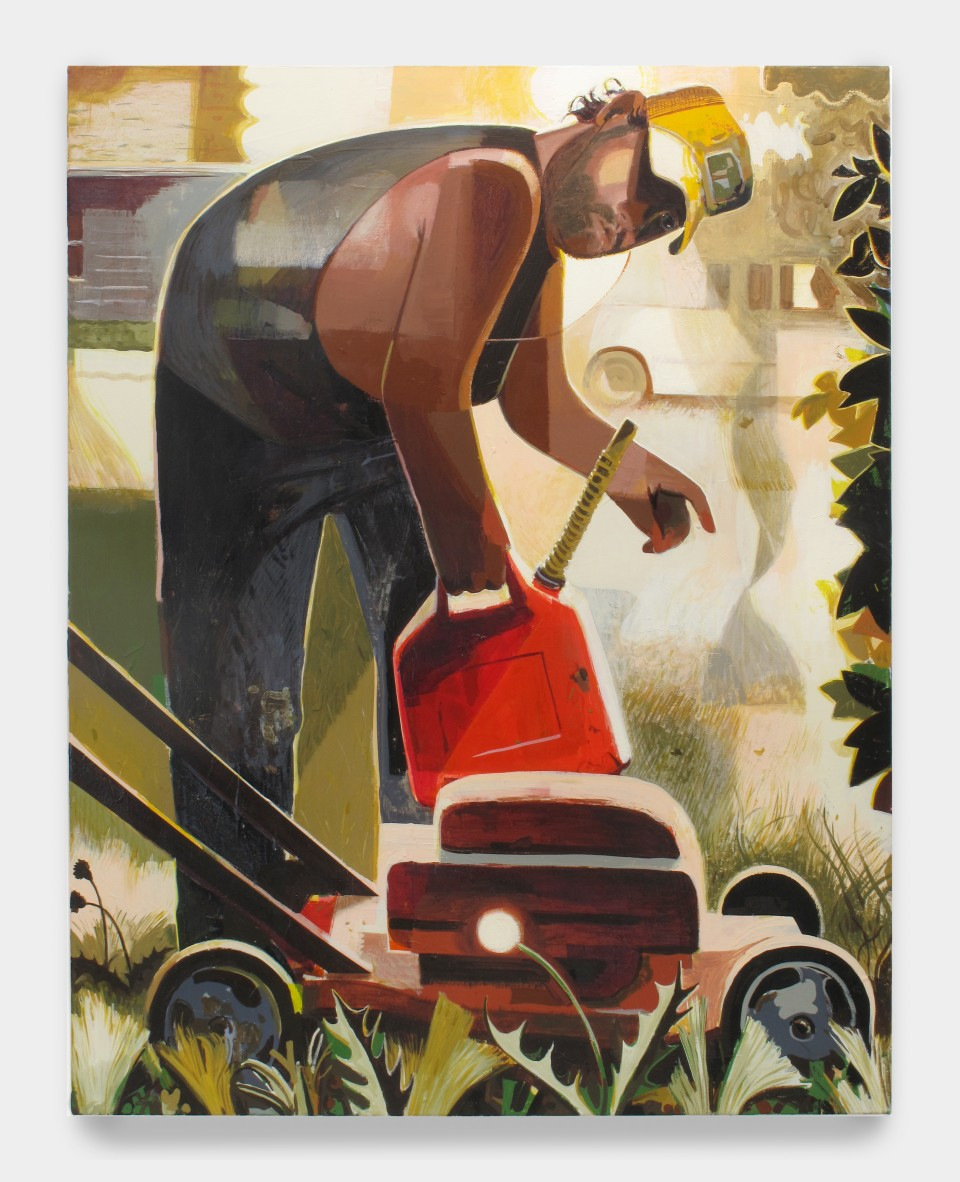 Image: Matt Bollinger  Davis Lawn Care, 2019  Flashe and acrylic on canvas  48 x 38 inches (121.9 x 96.5 cm)