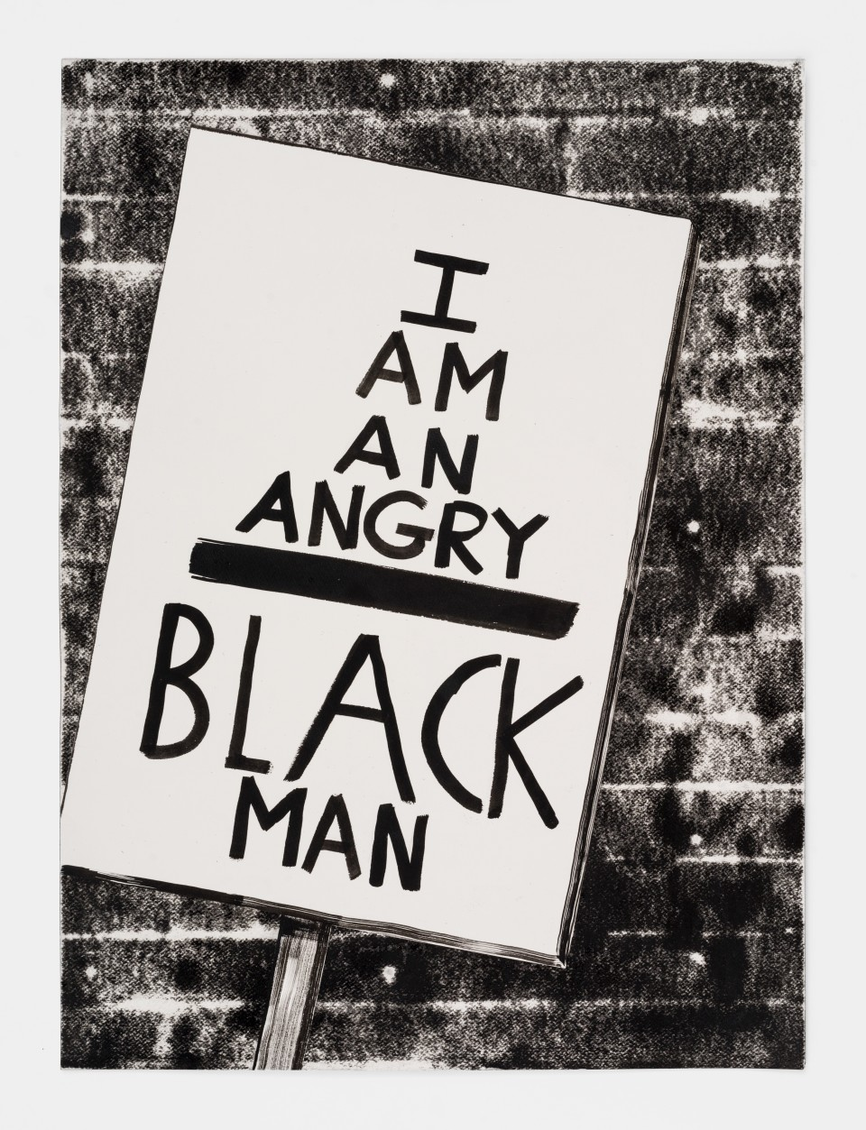 Image: Mark Thomas Gibson  I AM AN ANGRY BLACK MAN, 2020  ink on paper collage  30 x 22 inches (76.2 x 55.9 cm)