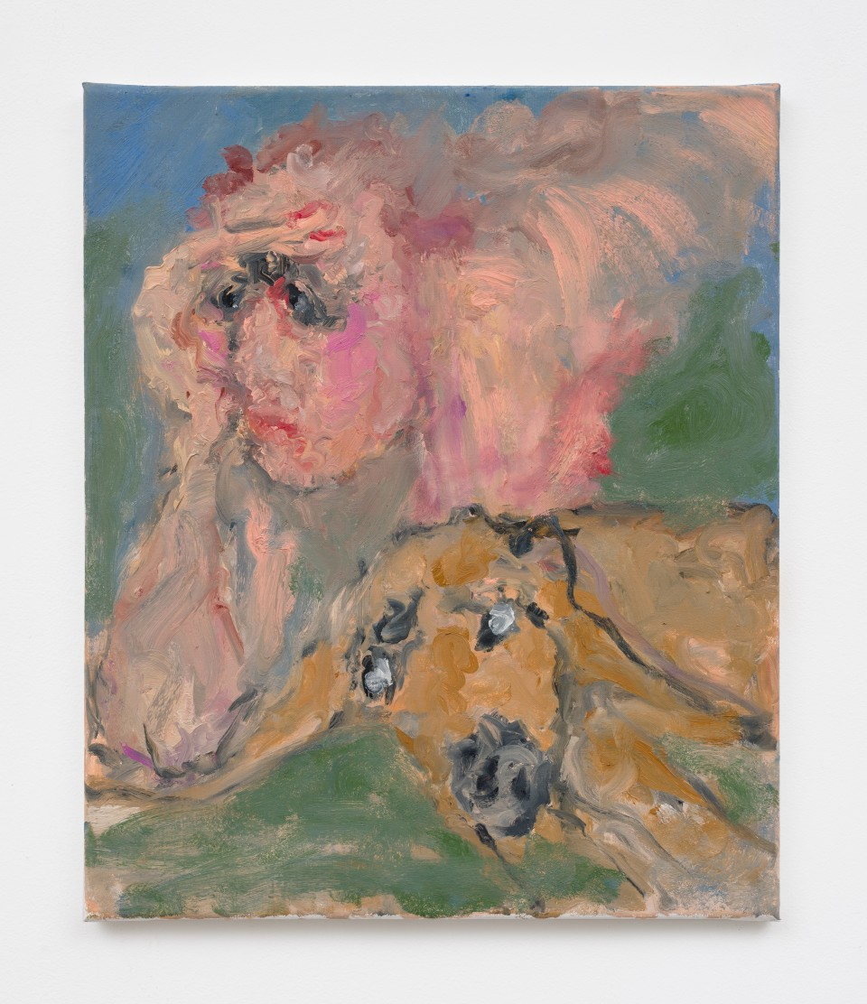 Image: Eva Beresin  This is why I don't have a pet, 2021  signed, dated and titled verso  oil on canvas  23 1/2 x 19 1/2 inches (59.7 x 49.5 cm)