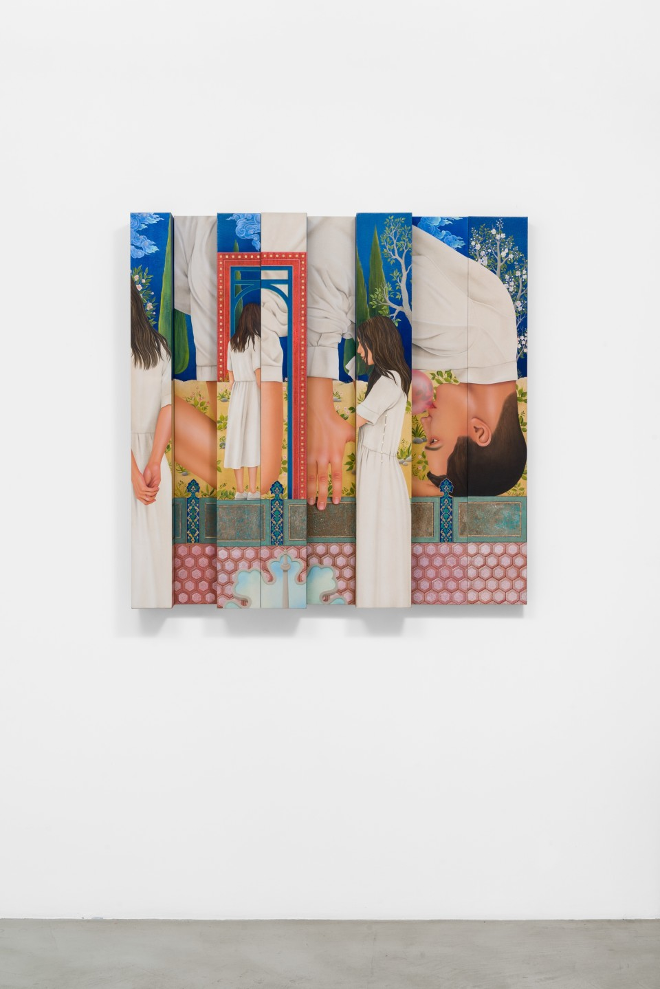 Image: Arghavan Khosravi  Parallel Lives (2), 2020  signed and dated verso  acrylic on canvas mounted on wood panels  45 3/8 x 45 3/8 x 6 inches (115.3 x 115.3 x 15.2 cm)