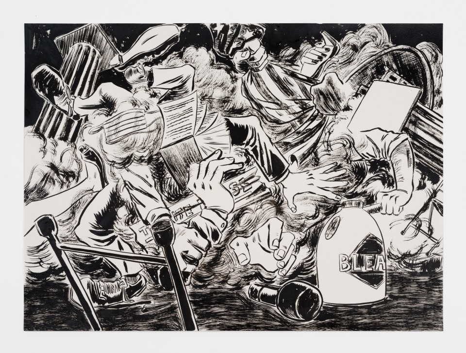 Image: Mark Thomas Gibson  No More Q and A, 2020  ink on paper  22 x 30 inches (55.9 x 76.2 cm)