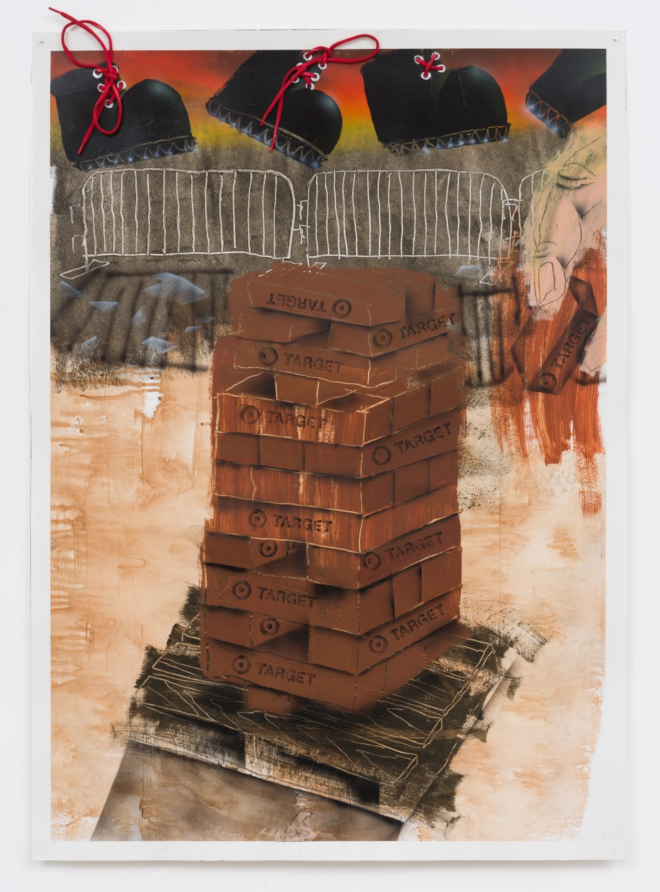 """Image: Pat Phillips  Untitled """"What goes up must come down"""" / Getcha Target bricks!"""", 2020  signed and dated verso  acrylic, shoe string, airbrush, aerosol paint on paper  paper size: 42 x 29 1/2 inches (106.7 x 74.9 cm) framed size: 43 7/8 x 32 1/8 inches (111.44 x 81.59 cm)"""