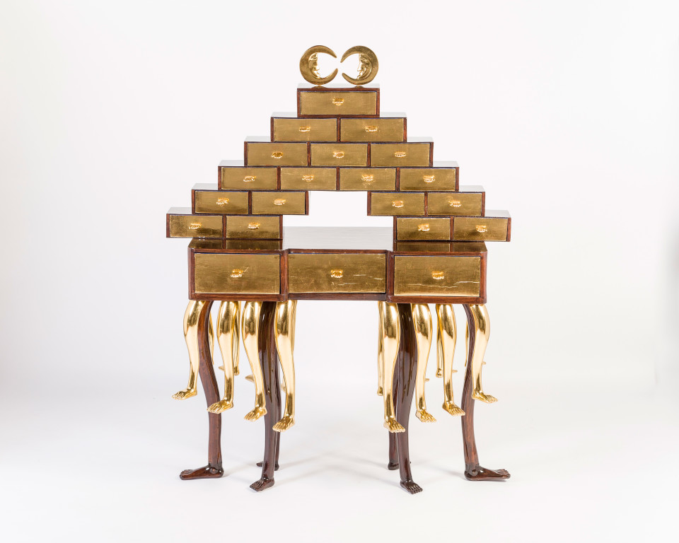 Artwork: Pedro Friedeberg  Escribanía de la princesa Lucinda Bonaparte (Princess Lucinda Bonaparte's Writing Desk), 2016  signed and dated  painted pine wood, cedar wood, walnut and gold leaf  55 1/8 x 42 1/2 x 21 5/8 inches (140 x 108 x 55 cm)