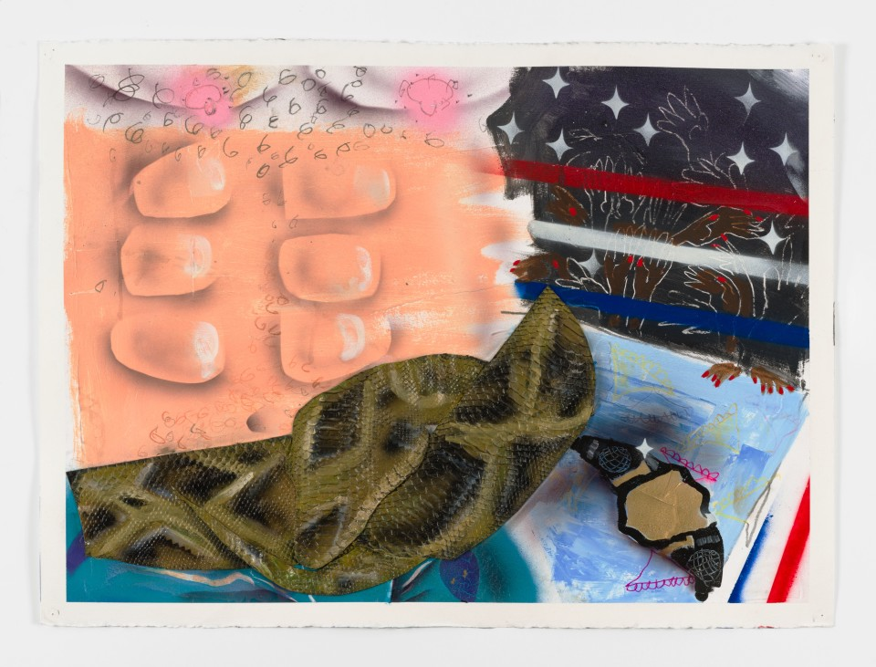 Image: Pat Phillips  Untitled (the ladies love Florida Man), 2019  signed and dated verso  acrylic, pencil, vinyl fabric, airbrush, aerosol paint on paper  22 x 30 inches (55.9 x 76.2 cm)