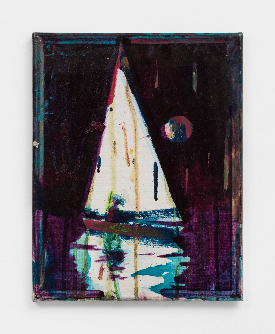 Image: Nathan Zeidman  Sailboat, 2015  signed and dated verso  acrylic, oil paint and oil stick on canvas  14 x 11 inches (35.6 x 27.9 cm)