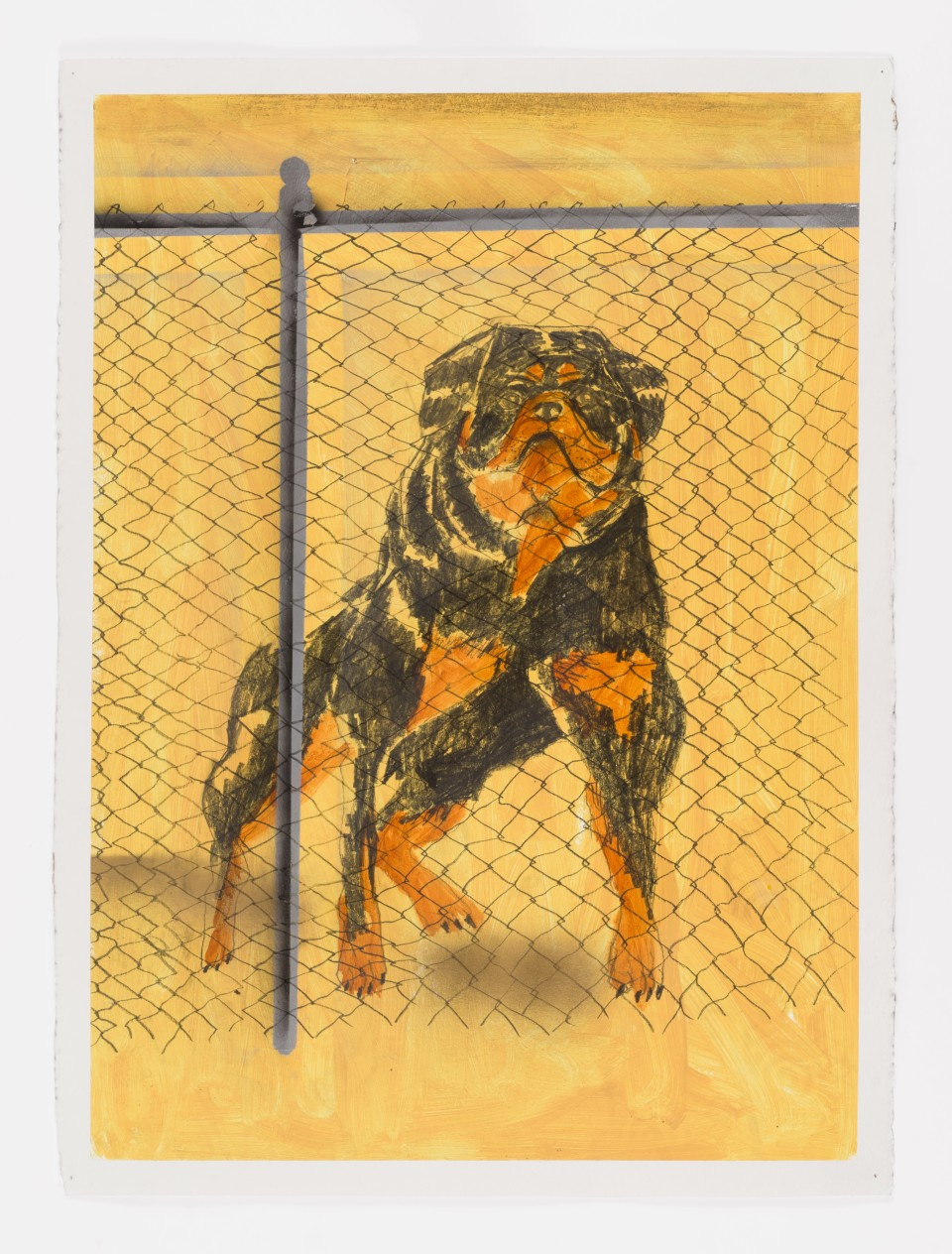 Image: Pat Phillips  Untitled (Rottweiler), 2019  signed and dated verso  acrylic, pencil, airbrush aerosol paint on paper  30 x 22 inches (76.2 x 55.9 cm)