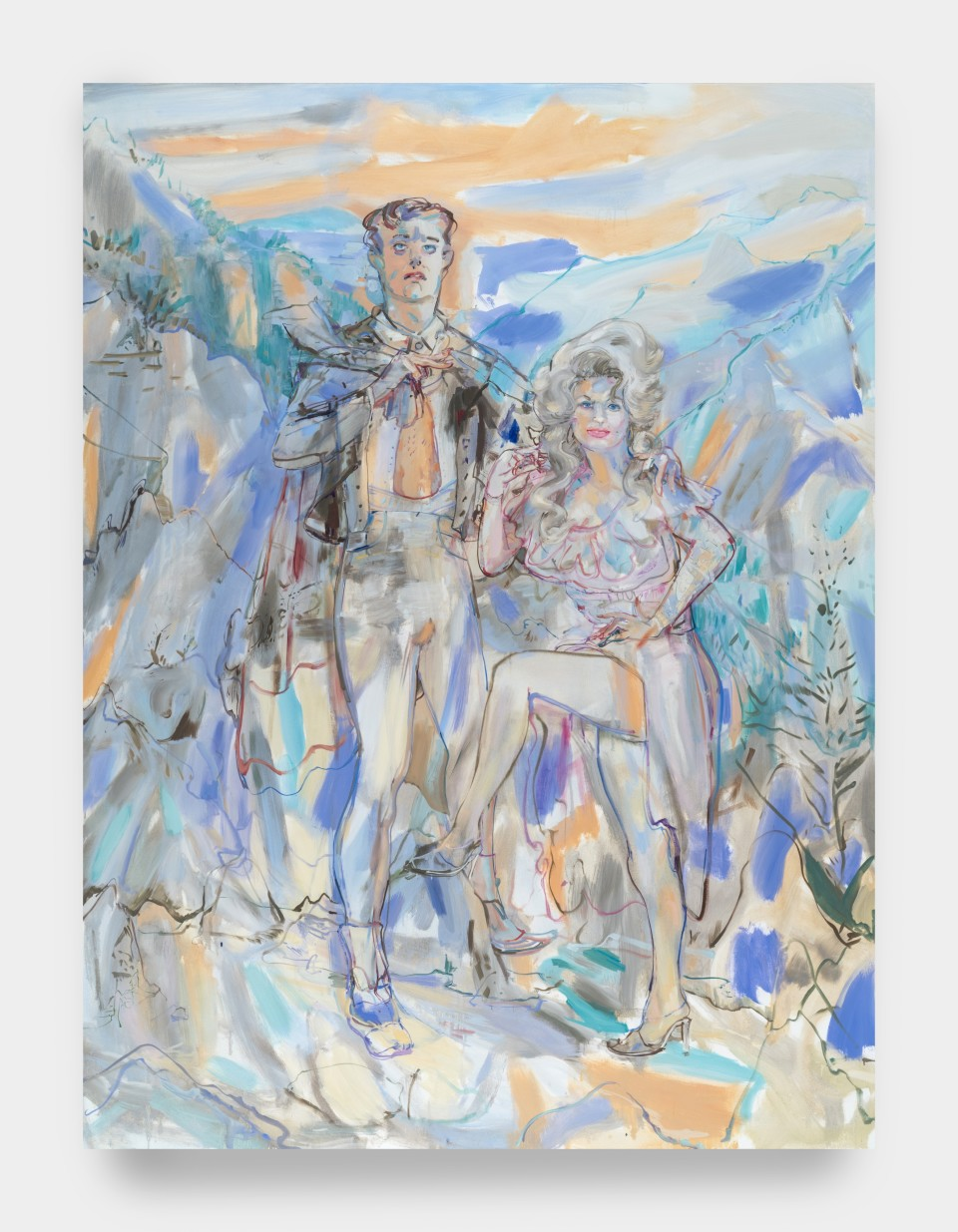 Image: Angela Dufresne  Dolly Parton and Lord Byron, 2020  signed and dated verso  oil on canvas  96 x 72 inches (243.8 x 182.9 cm)