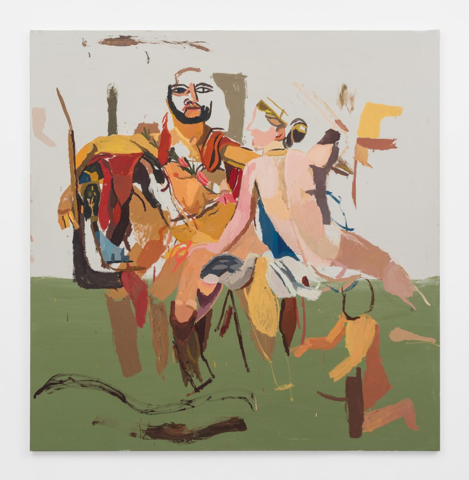 Image: Clintel Steed  Mars Being Disarmed by Venus, 2019  signed, titled and dated verso  oil on canvas  80 x 78 1/4 inches (203.2 x 198.8 cm)