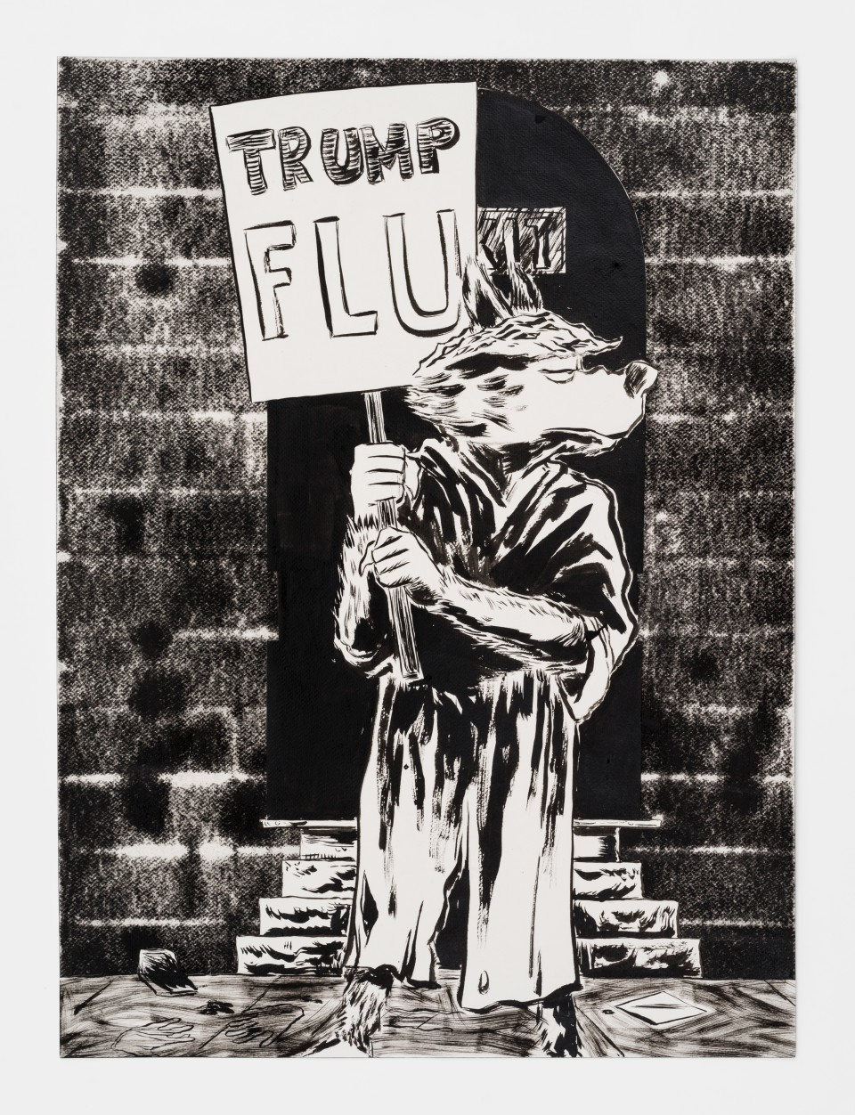 Image: Mark Thomas Gibson  Trump Flu, 2020  ink on paper  30 x 22 inches (76.2 x 55.9 cm)