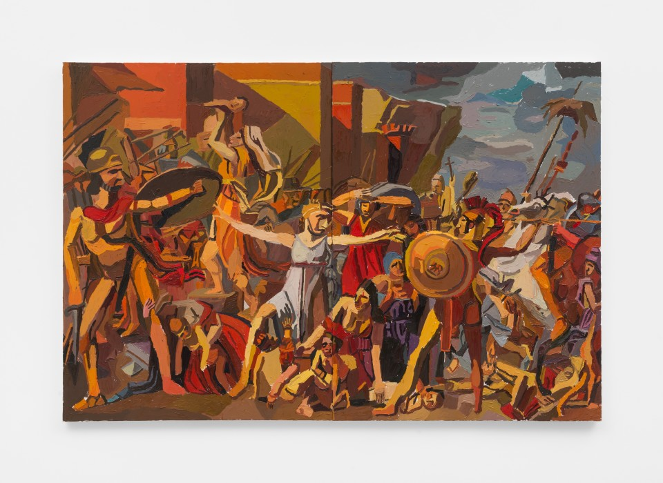Image: Clintel Steed  The Intervention of the Sabine Women, 2019  signed, titled and dated verso  oil on canvas  48 x 72 inches (121.9 x 182.9 cm)