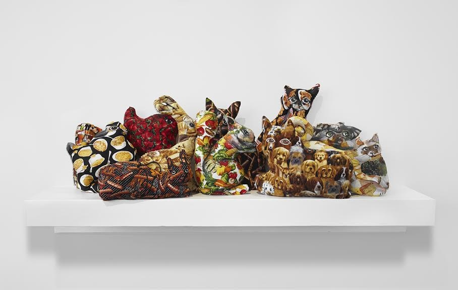 Image: Samara Golden  Mass murder of the guides and guardians 2, 2014  11 animals, fabric, paint stuffing  16 x 29 x 69 inches