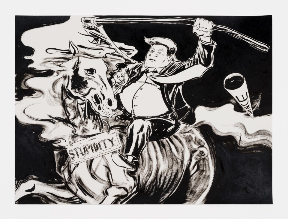 Artwork: Mark Thomas Gibson  America Presents .... The Fifth Horseman, 2020  ink on paper collage  22 x 30 inches (55.9 x 76.2 cm)
