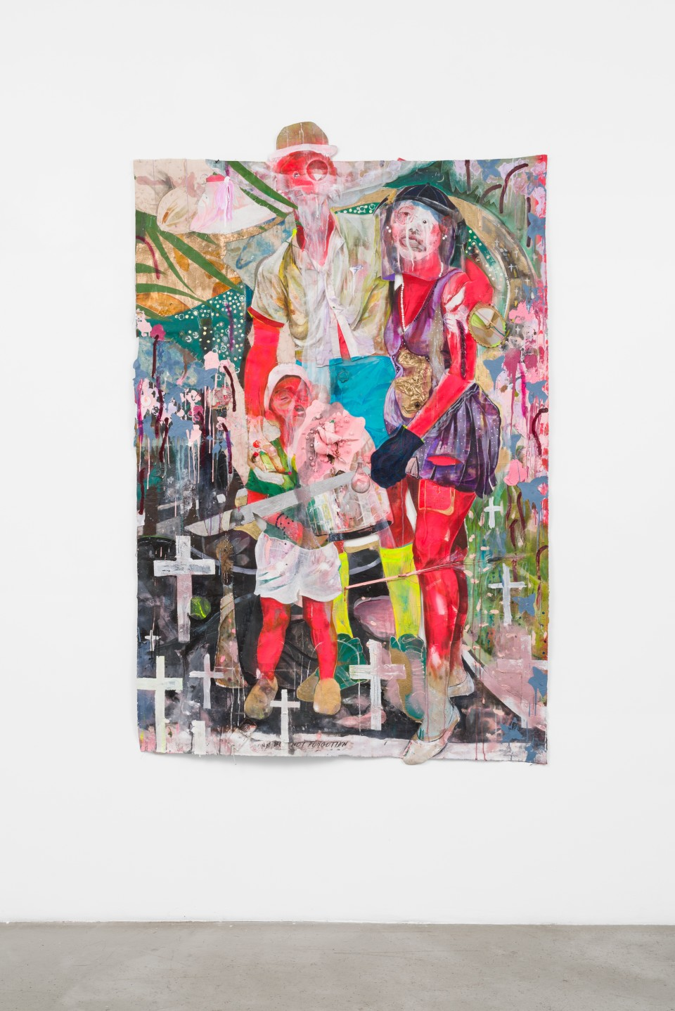 Image: Lavar Munroe  FAITH HOPE & LOVE, 2020  signed verso  acrylic, spray paint, mirror, beads, doll, faux birds, plastic and staples on canvas  78 x 51 1/2 inches (198.1 x 130.8 cm)