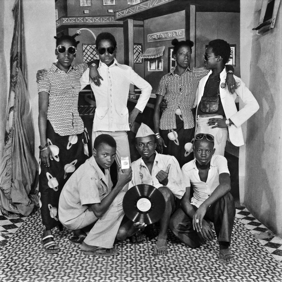 Image: Sanlé Sory  Les Jeunes Mélomanes, 1974  signed, dated, titled and numbered verso  archival pigment print  42 x 42 inches, edition of 9 plus 3 artist's proofs  gelatin silver print  24 x 20 inches, edition of 10 plus 3 artist's proofs 20 x 16 inches, edition of 15 plus 5 artist's proofs