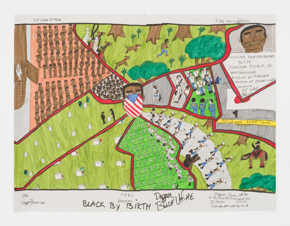 Image: Dapper Bruce Lafitte  T.D.B.C. Presents Black By Birth, 2020  signed, titled and dated  archival ink on acid free paper  18 x 24 inches (45.7 x 61 cm)