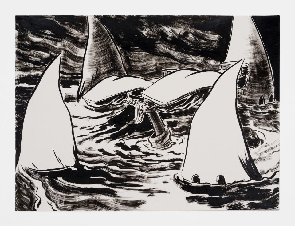 Image: Mark Thomas Gibson  Swimming with the Enemy, 2020  ink on paper  22 x 30 inches (55.9 x 76.2 cm)