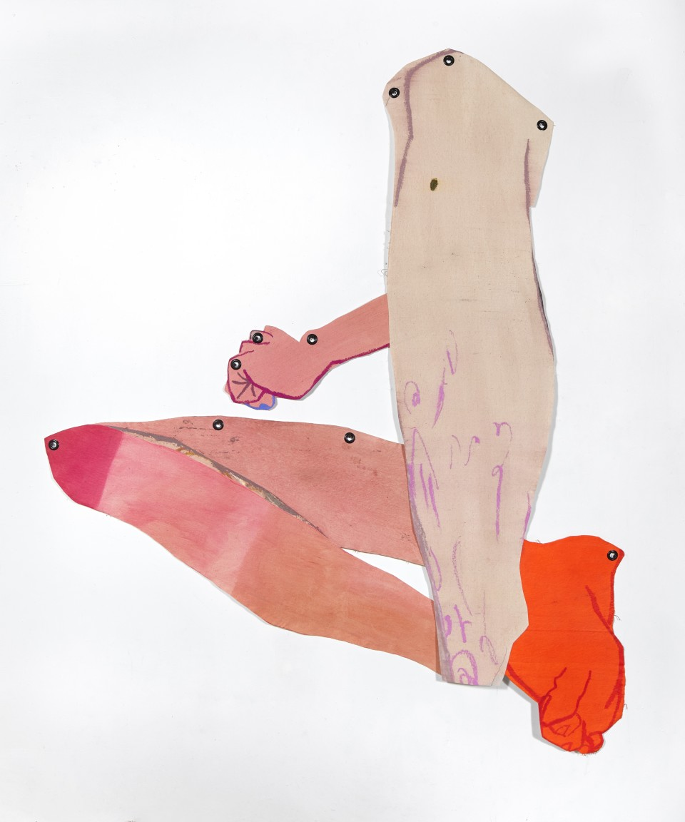 Image: Sarah Faux  Now in reverse, 2019  dye, acrylic and oil pastel on cut canvas  68 x 57 inches (172.7 x 144.8 cm)