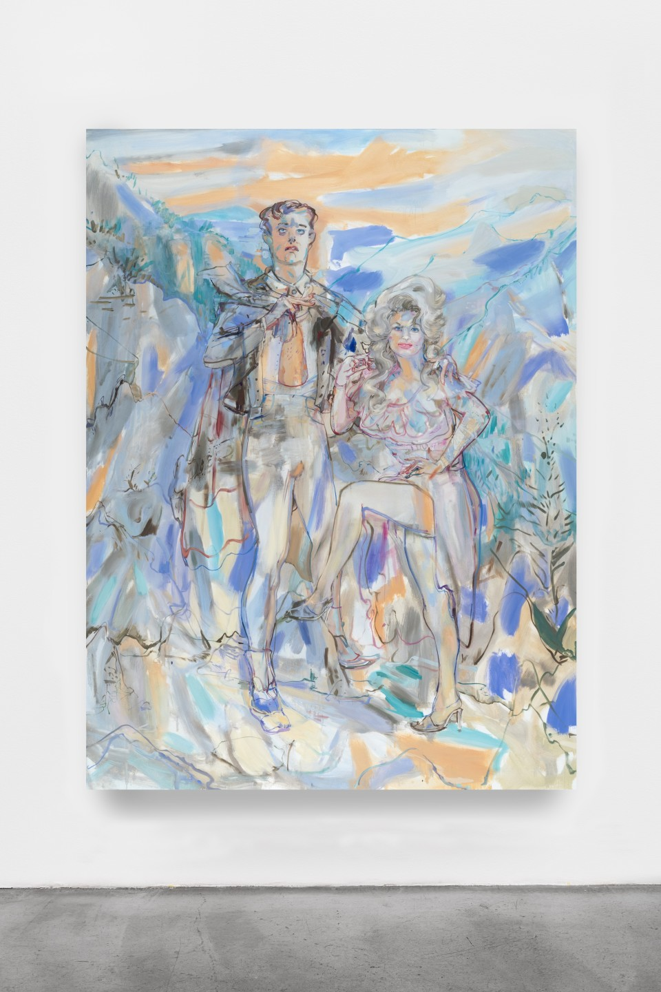 Artwork: Angela Dufresne  Dolly Parton and Lord Byron, 2020  signed and dated verso  oil on canvas  96 x 72 inches (243.8 x 182.9 cm)