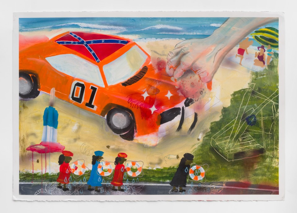 Image: Pat Phillips  Untitled (cus he had fun fun fun & his daddy didn't take his T-bird away), 2018  signed and dated verso  acrylic, oil pastel, reflective glass beads, string, airbrush, aerosol paint on paper  30 3/8 x 44 in (77.2 x 111.8 cm)
