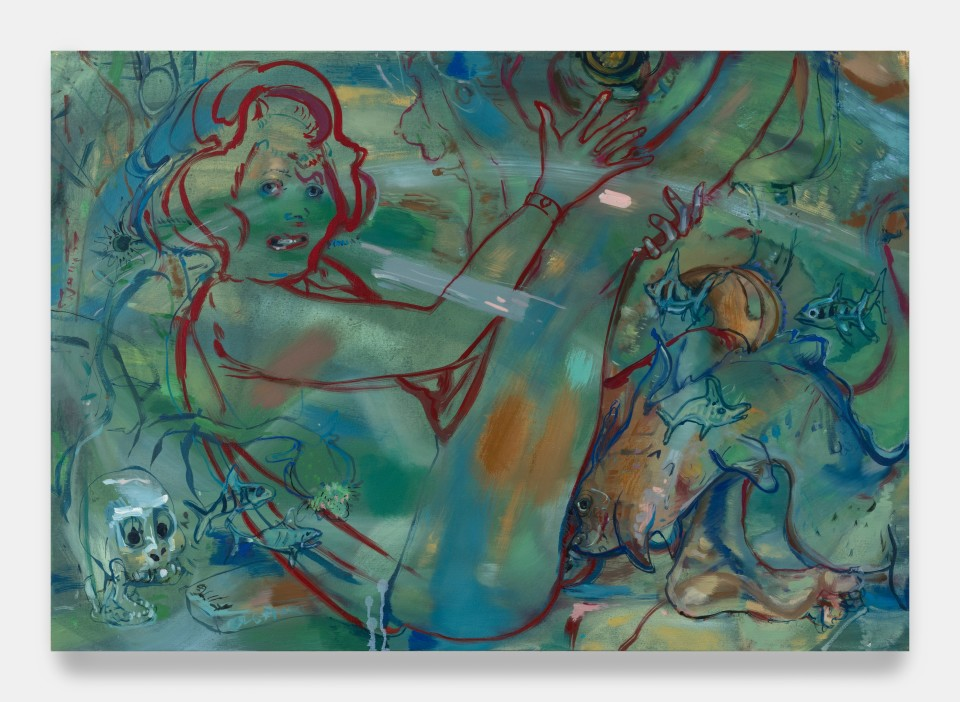 Image: Angela Dufresne  Sea Creature Sex Creature (5), 2020  signed, titled and dated verso  oil on canvas  28 x 40 inches (71.1 x 101.6 cm)