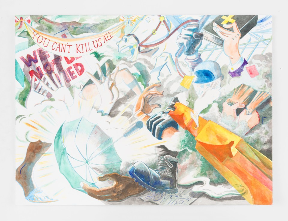 Artwork: Mark Thomas Gibson  Battle of DC, 2021  signed, titled and dated verso  ink on paper  22 x 30 inches (55.9 x 76.2 cm)