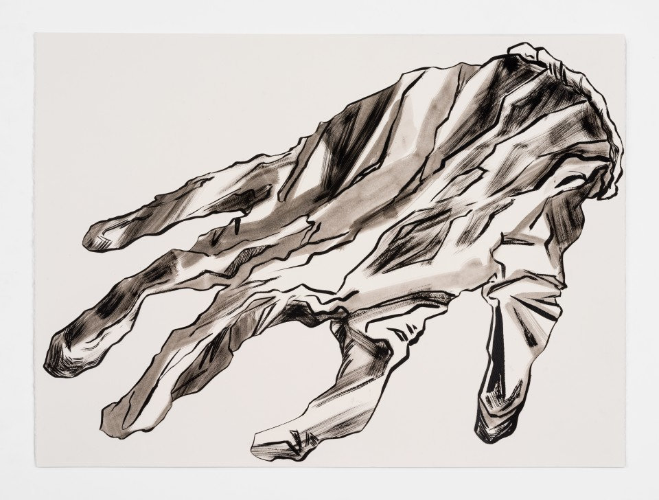 Image: Mark Thomas Gibson  Lost Glove, 2020  ink on paper collage  22 x 30 inches (55.9 x 76.2 cm)