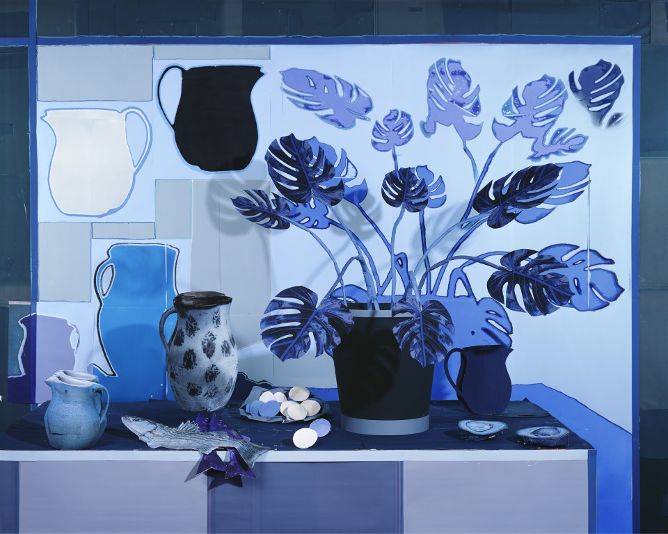 Artwork: Daniel Gordon  Blue Still Life with Philodendron and Fish, 2018  signed and numbered verso  archival pigment print  55 x 68 1/2 inches (139.7 x 174 cm)  edition of 3 plus 1 artist's proof