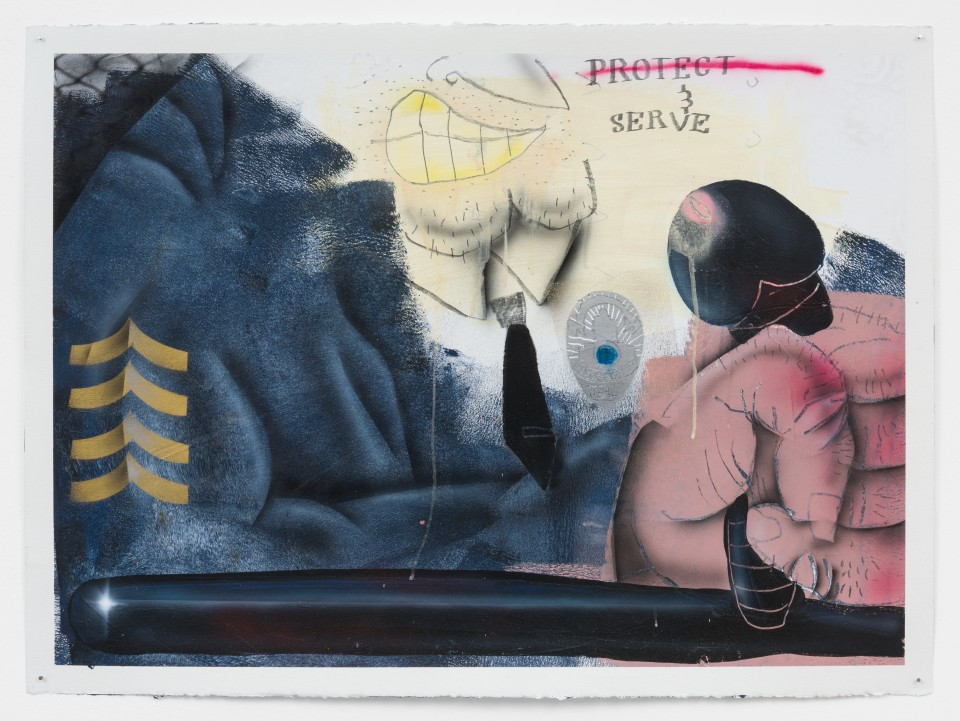 """Image: Pat Phillips  Untitled """"... and serve"""", 2020  signed and dated verso  acrylic, pencil, airbrush, aerosol paint on paper  paper size: 22 x 30 inches (55.9 x 76.2 cm) framed size: 24 5/8 x 32 1/2 inches (62.55 x 82.55 cm)"""