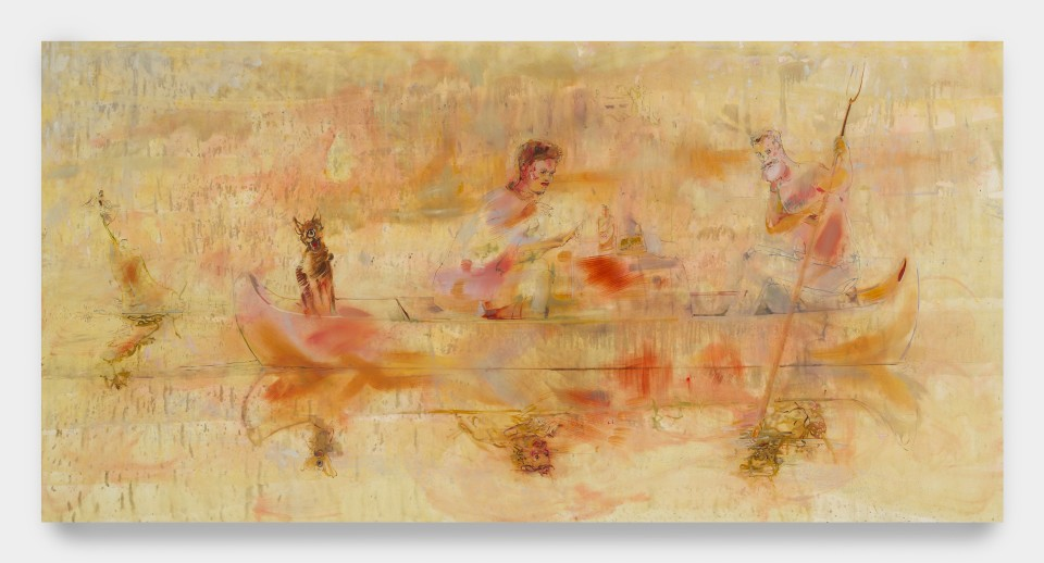 Image: Angela Dufresne  Furtrappers, or William and Mark reading Mark Smiths bio on a Charles Bingham Canoe, 2018  oil on canvas  54 x 108 inches (137.2 x 274.3 cm)
