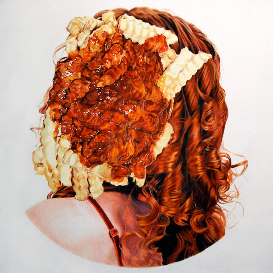 Image: Eric Yahnker  Chili Fries Without a Face, 2011  colored pencil on paper  72 x 72 inches