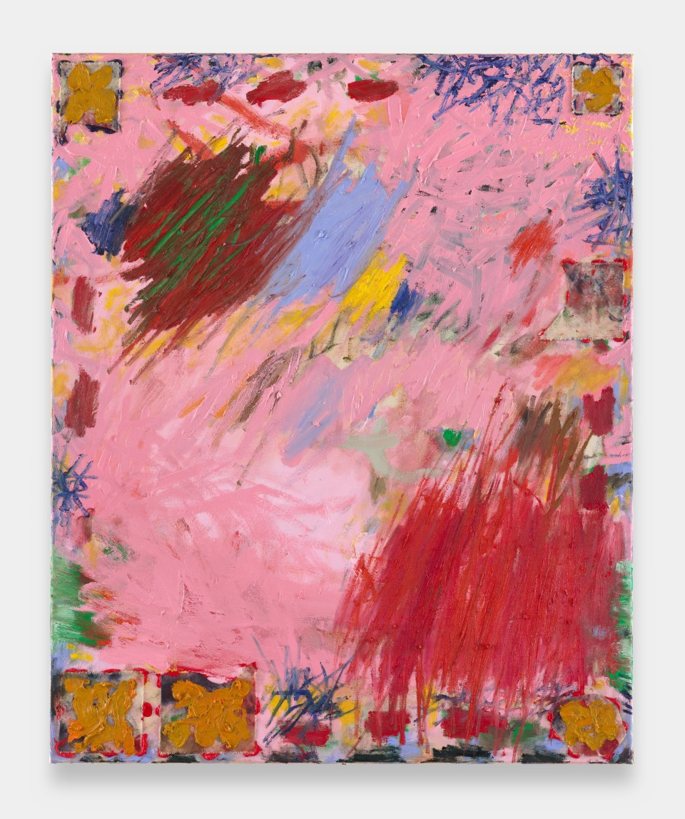 Image: Daisy Parris  Pink Things, 2021  signed and dated verso  oil paint on canvas  44 x 35 inches (110 x 90 cm)